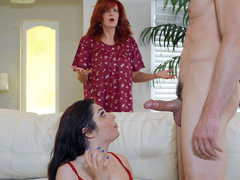 Teen Keira Croft Gets Caught By Her Mother Facialized By The Cable Guy