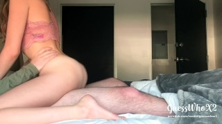 Horny Teen Rides Bf's Dick, Gets POV Cumshot On Big Ass! Amateur Homemade