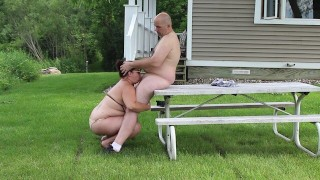 Picnic Table Blowjob – George Gives Wife Massive Facial – Outdoor HD