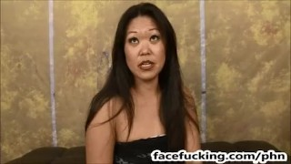 (new) First Timer Asian MILF Jeanna Silks Throat Fucked And Degraded