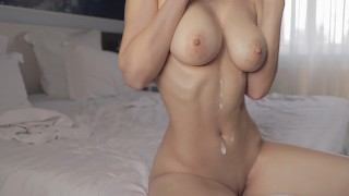Busty Young Girl Strips And Fucks Until Her Hot Body Covered In Cum