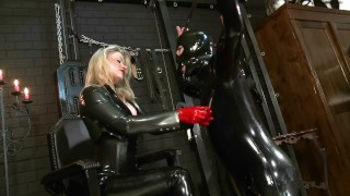 Latex Domina Trains Her Rubber Gimp