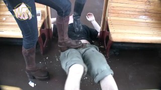 Two Booted German Girls Trample Guy And Groin